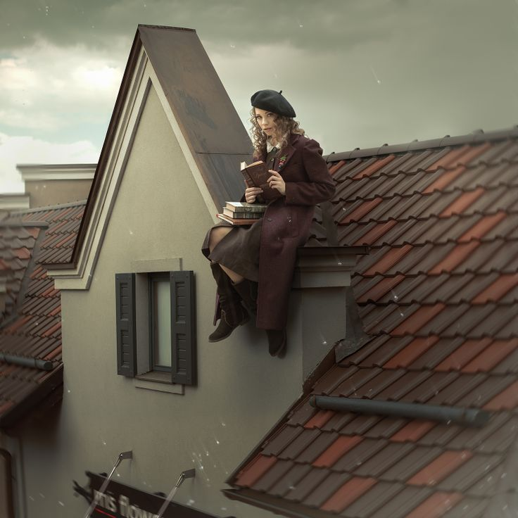 Ph St  Yana Bobrykova Md Anna Tikhonova MUA Vera Rudova #воровка_книг #на_крыше #on_the_roof #roof #retro #books
