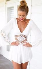 Overalls Ladies White V Neck Chiffon Elegant Jumpsuit - M / White