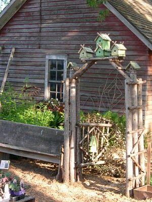 arbor and birdhouses