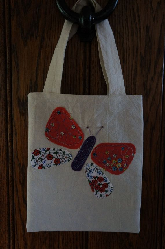 Appliqued Butterfly Mini Tote Bag by TheCraftyPhoenixLady on Etsy, £3.50