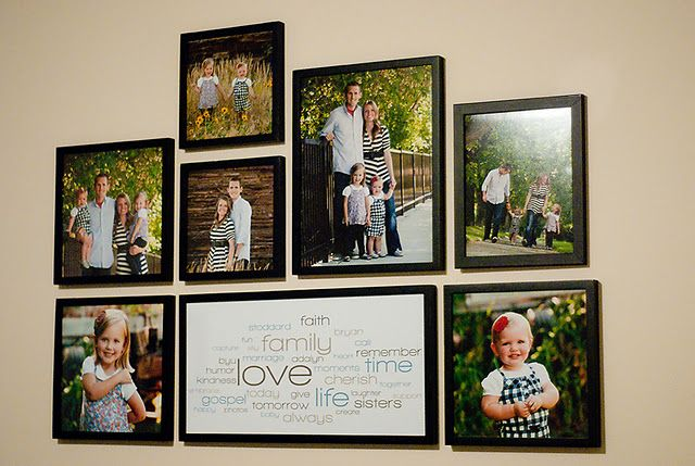 Love the picture arrangement.  Small squares 8x8 (2), (3) 10x10, (1) 8x10, (1) 11x14, word collage 10x20
