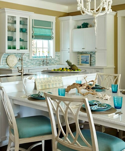 Turquoise Blue White Beach Theme Kitchen Coastal Dining Ideas House Kitchens Home Decor