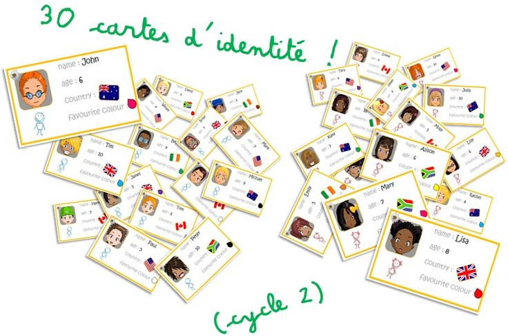 Jeux autour des cartes d'identité pour se présenter en Anglais - Elau                                                                                                                                                      Plus