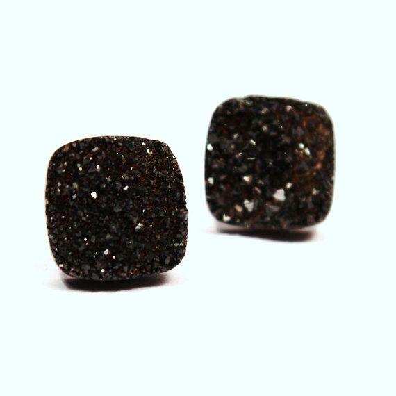 Black Druzy Stud Earrings Metallic Earthy Caviar by walkonthemoon, $30.50