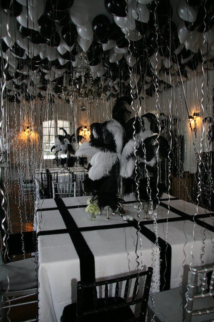 She wanted the theme to be Truman Capote Black and White Ball so everything was black and white. Description from oberonet.blogspot.com. I searched for this on bing.com/images