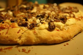 Caramelized Onion & Mushroom Flatbread with Ricotta & Parmesan Cheese