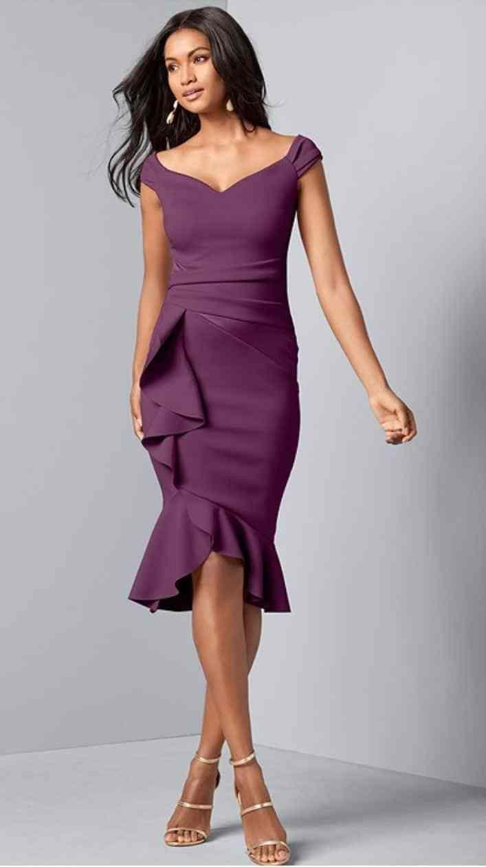 Venus Slim Ruffle Dress Plum Wedding Guest Outfit Fall Guest Dresses Dresses [ 1260 x 707 Pixel ]