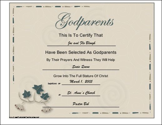 godparent certificate template - a certificate with a script title and leaf design to be