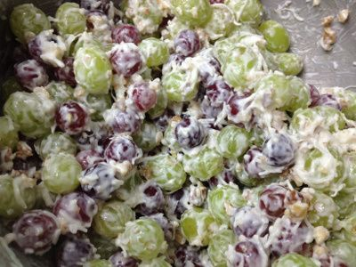 Grape salad. Made this for the family reunion. It was a big hit.