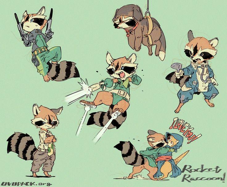 ロケット!ロケット! ゚∀゚)o彡゚  コミック版の方で出てくるロケットのコスプレ服装いろいろ。 Rocket Raccoon By OVOPACK  http://ovopack.tumblr.com/post/99907574755/o