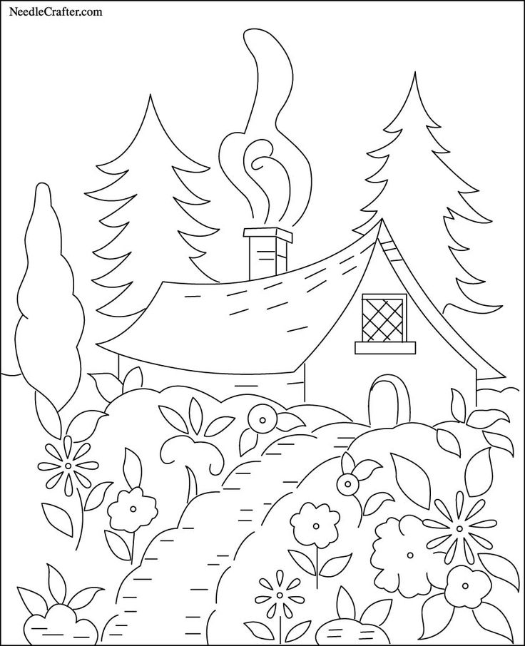 Free Hand Embroidery Pattern: Cottage in the Woods