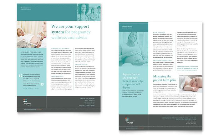 pregnancy clinic datasheet design template by stocklayouts