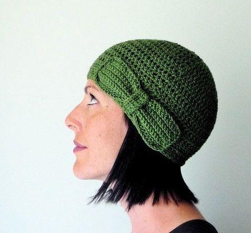 Green crochet bow hat