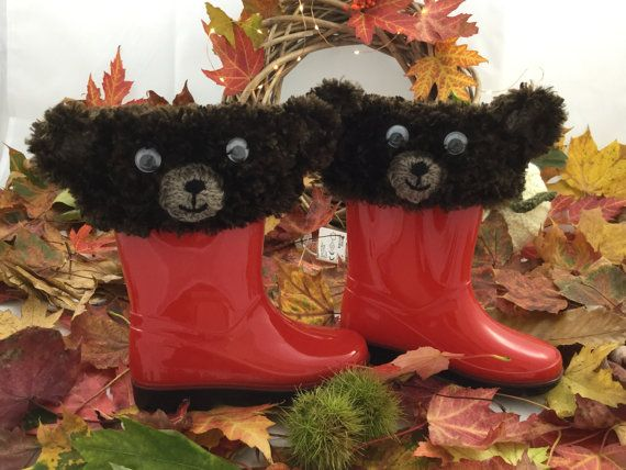 Bear Wellie Boot Cuff / Boot Toppers / Novelty by BabyJaneKnits