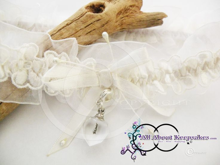 Name on Rice Wedding Garter Keepsake, to celebrate the union of marriage. Can also be created with a Wedding Horse Shoe   allaboutkeepsakes.com