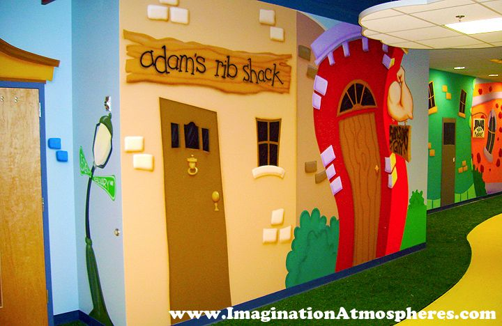 Preschool cartoon church murals www for Children room mural