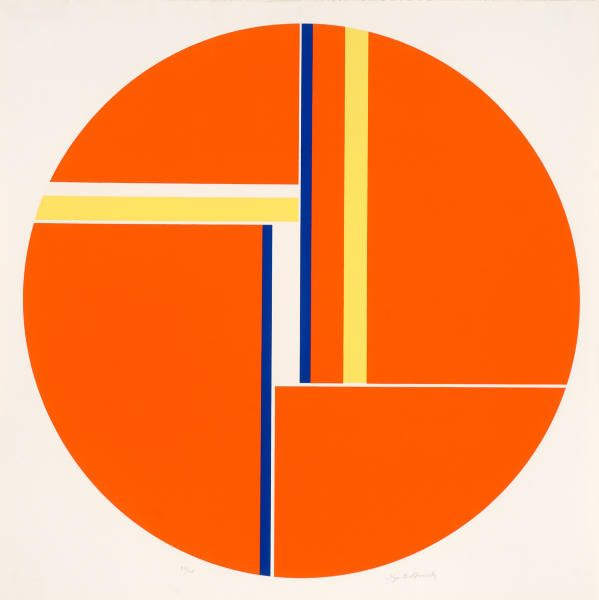 Orange Tondo - Russian born Ilya Bolotowsky (1907-1981) was a leading early 20th-century painter in abstract styles in New York City. His work, a search for philosophical order through visual expression, embraced cubism and geometric abstraction. One of original members of AAA (American Abstract Artists) org.