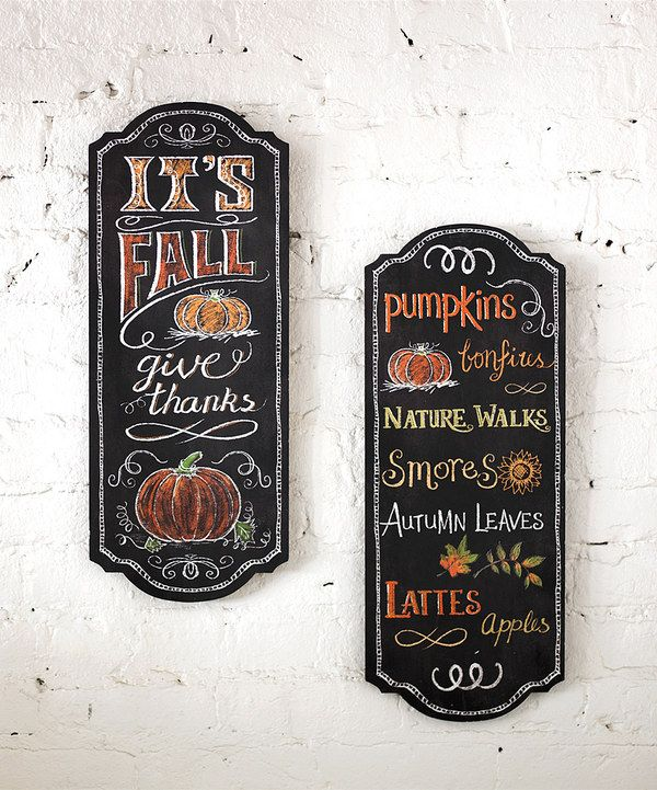 Look at this Fall Chalkboard Wall Plaque - Set of Two on #zulily today!