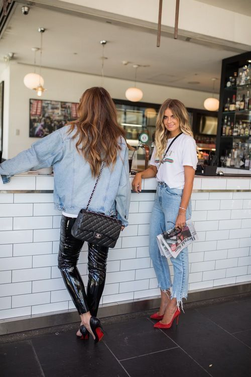 Casual outfit. Boyfriend jeans and heels. Jean jac…
