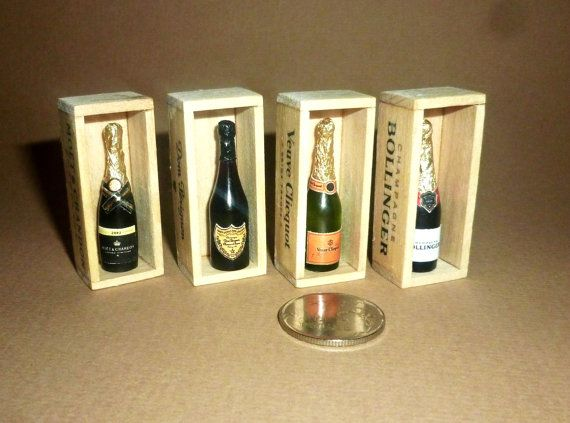 Hand Made miniature by Victoria Kova beautiful, Champagne Bollinger,Dom Perignon, Moet & Chandon !! Beautiful setting. ______________________________________________________  The price is for 1 bottle in wooden box ______________________________________________________  ► my jewelry shop: https://www.etsy.com/ru/shop/RainbowDesires15?ref=listing-shop-header-item-count ► Earrings bottle of rose wine! https://www.etsy.com/ru/listing/256...