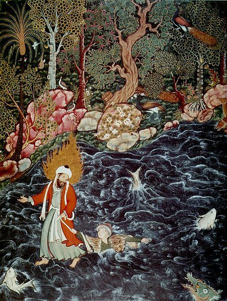Prophet Elijah Rescuing Nur ad-Dahr from the Sea, a scene from the Hamzanama , here imagined in a Persian miniature by Mir Sayyid Ali., 1570