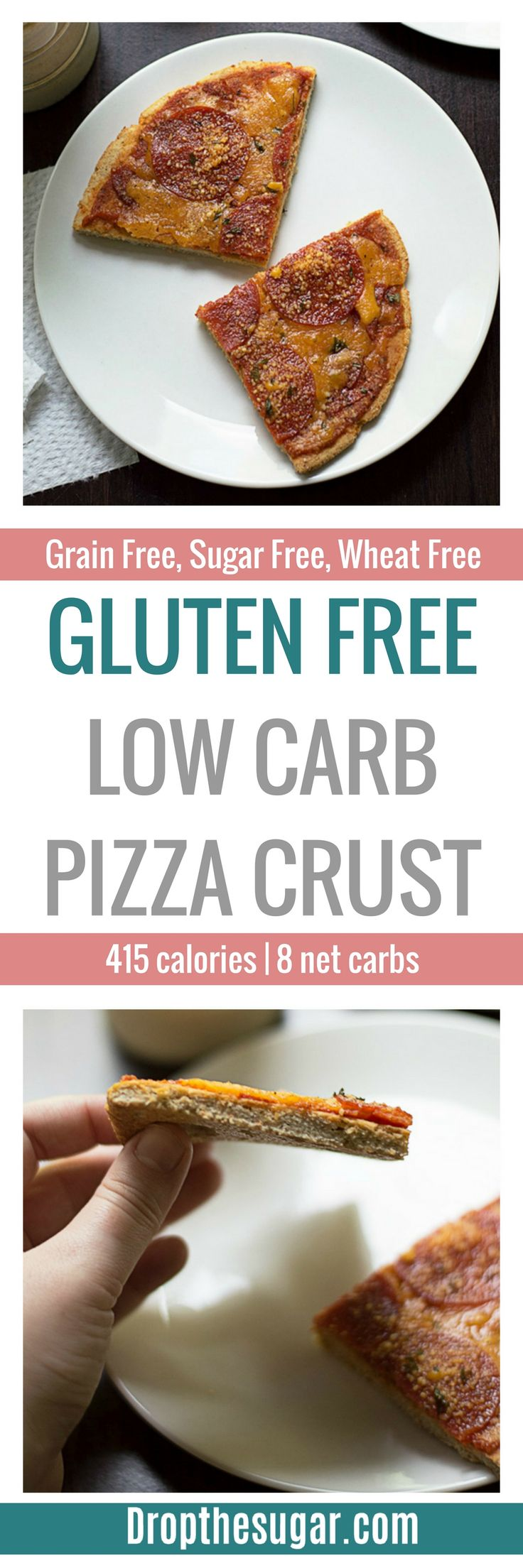 Gluten Free Low Carb Pizza Crust | a coconut flour pizza crust recipe that doesn't taste like eggs! Plus, this includes psyllium husk powder to add even more fiber and taste. Pin now to make later!