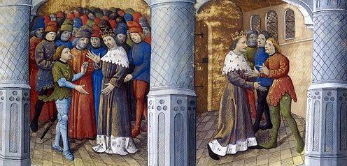 Retour de Bohort l'Essillié à Camelot où il raconte la quête du Graal au roi - Arthur interroge Gauvain sur les crimes qu'il a commis