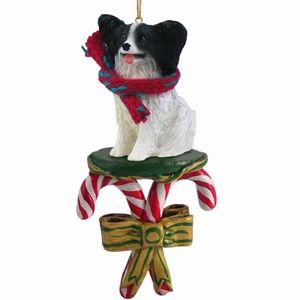 Candy Cane Papillon Christmas Ornament