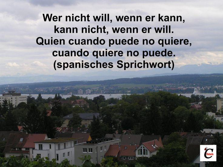 #Zitat Wer nicht will, wenn er kann, kann nicht, wenn er will.  Quien cuando puede no quiere, cuando quiere no puede.  (spanisches Sprichwort)