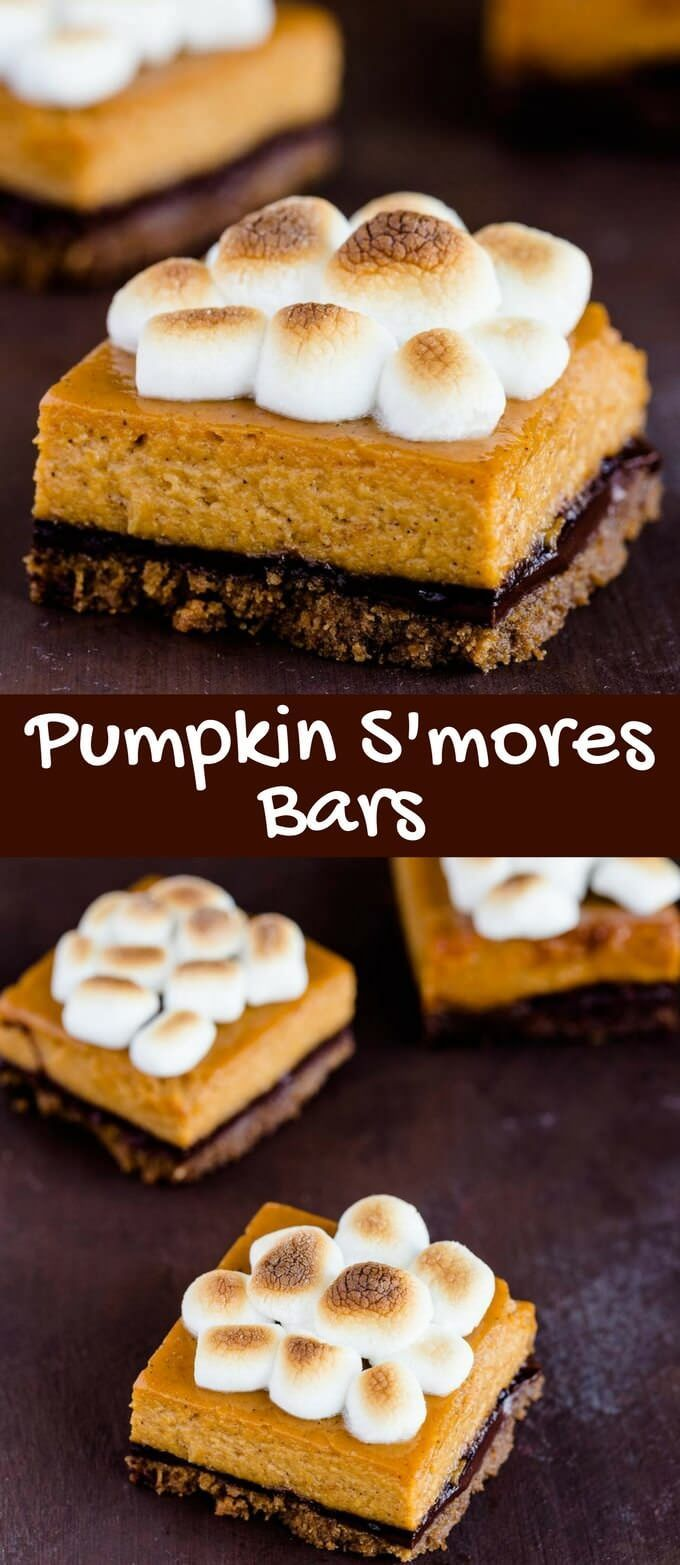 Pumpkin S'mores Bars will be the talk of the party this holiday! The base is a thick layer of graham crackers smothered in melted chocolate and topped with creamy pumpkin pie filling. Add toasted marshmallows to the top as a finishing touch and get ready to sink your teeth into the most epic dessert.  via /introvertbaker/
