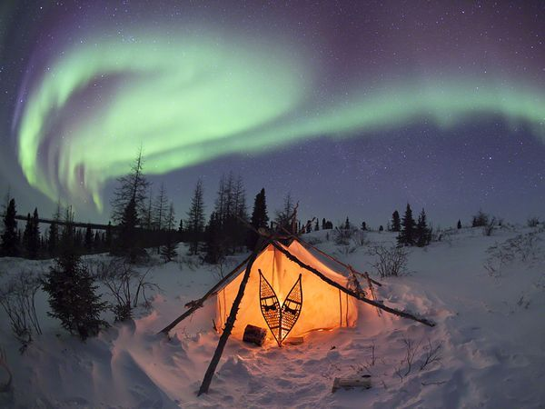 Winter camping and the Northern Lights, Canada