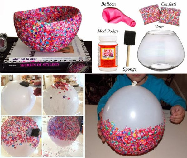 DIY Craft Project– Confetti Bowls - Find Fun Art Projects to Do at Home and Arts and Crafts Ideas