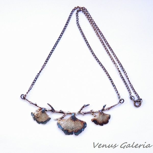 Srebrny naszyjnik - Małe miłorzęby brązowe - Sklep internetowy z biżuterią srebrną