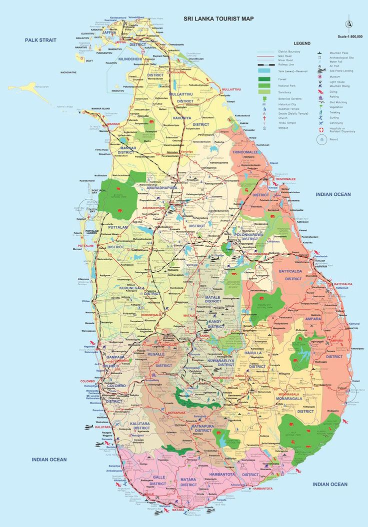 A comprehensive map of Sri Lanka's road systems, historical and religious sites, forests and Wildlife sanctuaries, harbors and diving sites, a guide to explore the country, find your way around or guide to simply to get lost amidst the splendor and beauty of the country.