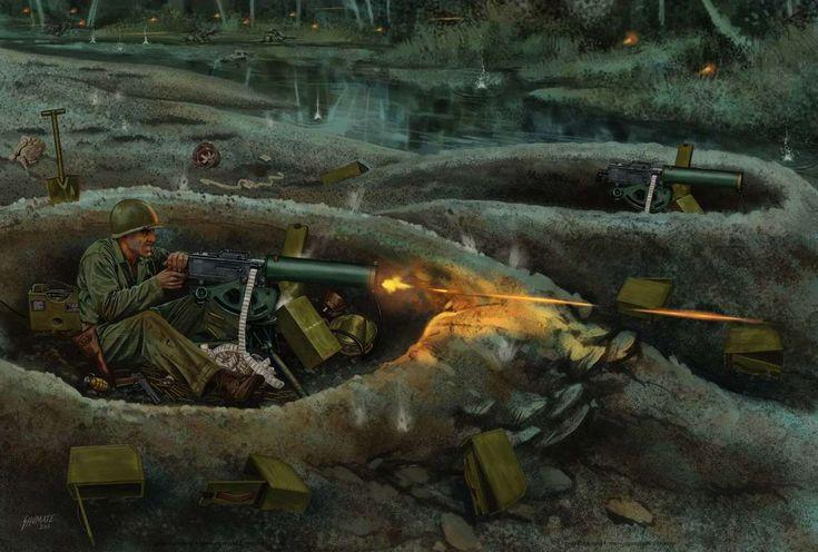 Американский станковый пулемет Browning M1919 (иллюстратор Johnny Shumate) Browning M1919 - Американские морские пехотинцы пулеметным огнем сдерживают наступательные действия численно превосходящих сил японской армии на Соломоновых островах, октябрь 1942 года