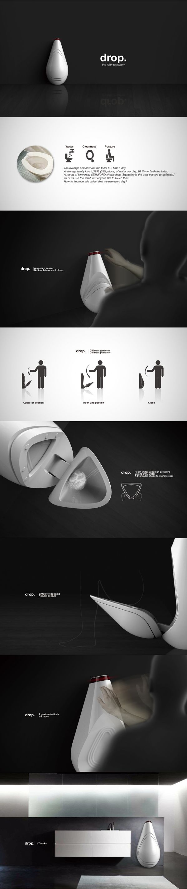 Drop-Toilet of tomorrow by Pengfei LI, via Behance.