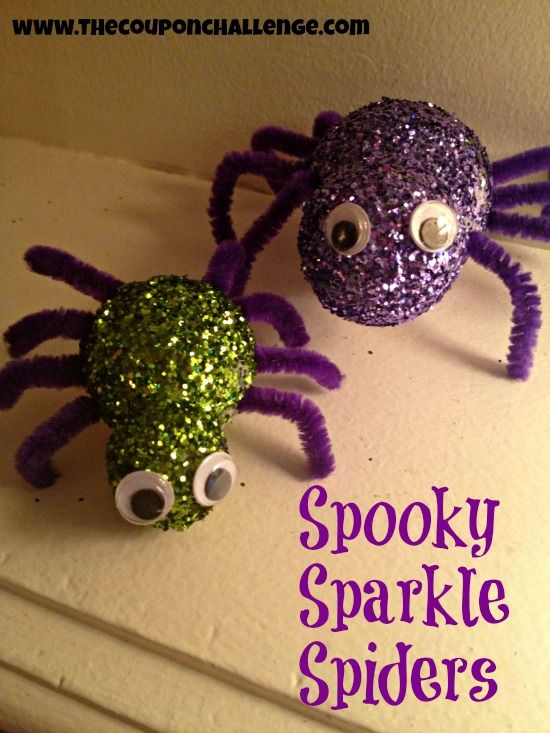 Spooky Sparkle Spiders {Dollar Store Halloween Craft}: Spidersth Coupon, Halloween Crafts, Sparkle Spidersth, Spooky Sparkle, Coupon Challenges, Halloween Decor Ideas, Halloween Decorating Ideas, Halloween Diy, Parties Crafts