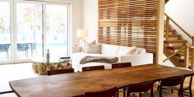 Modern, live edge English Walnut table designed for luxury Sag Harbor home