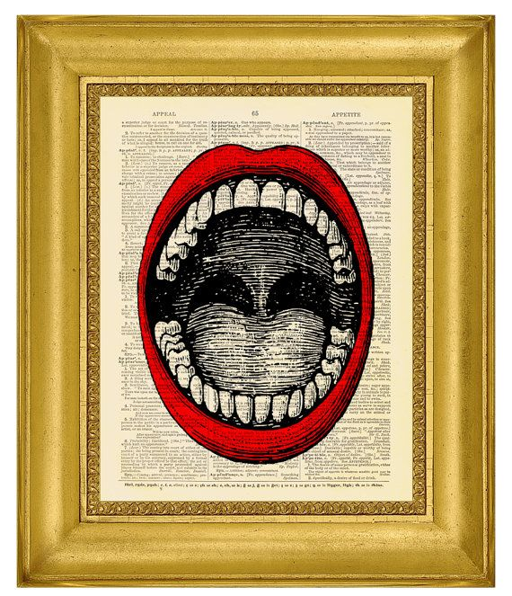 Screaming Mouth RED  Dictionary Art Print by MadameBricolagePrint, $10.00