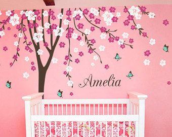 """Etiquetas de la pared de cuarto de niños del bebé Cherry Blossom árbol calcomanía árbol calcomanía mariposa etiqueta de la pared de los cabritos sala Mural decoración grande: aprox. 113 """"x 93"""" - KC023"""