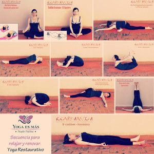 YOGA RESTAURATIVO: 10 POSTURAS PARA RELAJAR Y RENOVAR Hoy comparto contigo esta clase completa de yoga restaurativo para relajar y renovar mente-cuerpo. Tienes una secuencia de posturas y una meditación guiada que te ayudarán a serenarte completamente.