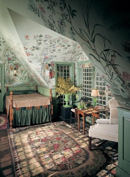 In a bedroom under the eaves at Beauport, Charles Sleepers' eclectic-fantasy-on-a-colonial-theme house in Gloucester, Massachusetts, a Chinoise tapestry paper hovers over the spool bed. (Photo: David Bohl/Historic New England)