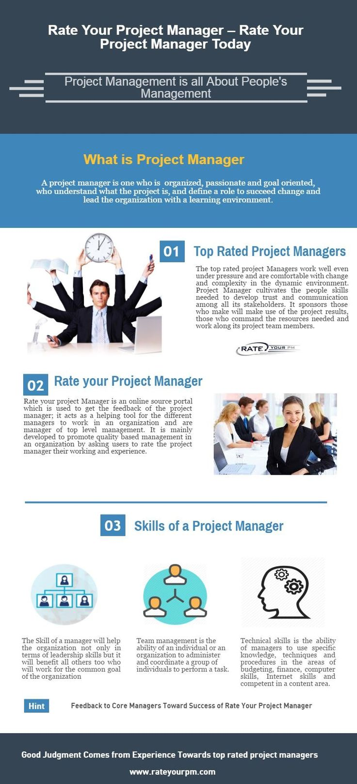 Rate your PM - Feedback to project manager  Project manager is all about managing & controlling people.  Manager is the one who sees the way that all are working for a common goal towards the success of organization. Rate of project manager is all about providing the feedback to the project manager  http://www.rateyourpm.com/