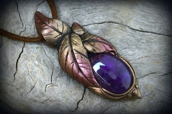 Amethyst crystal cabochon with polymer clay on natural leather pendant necklace by PeaceElements on Etsy.