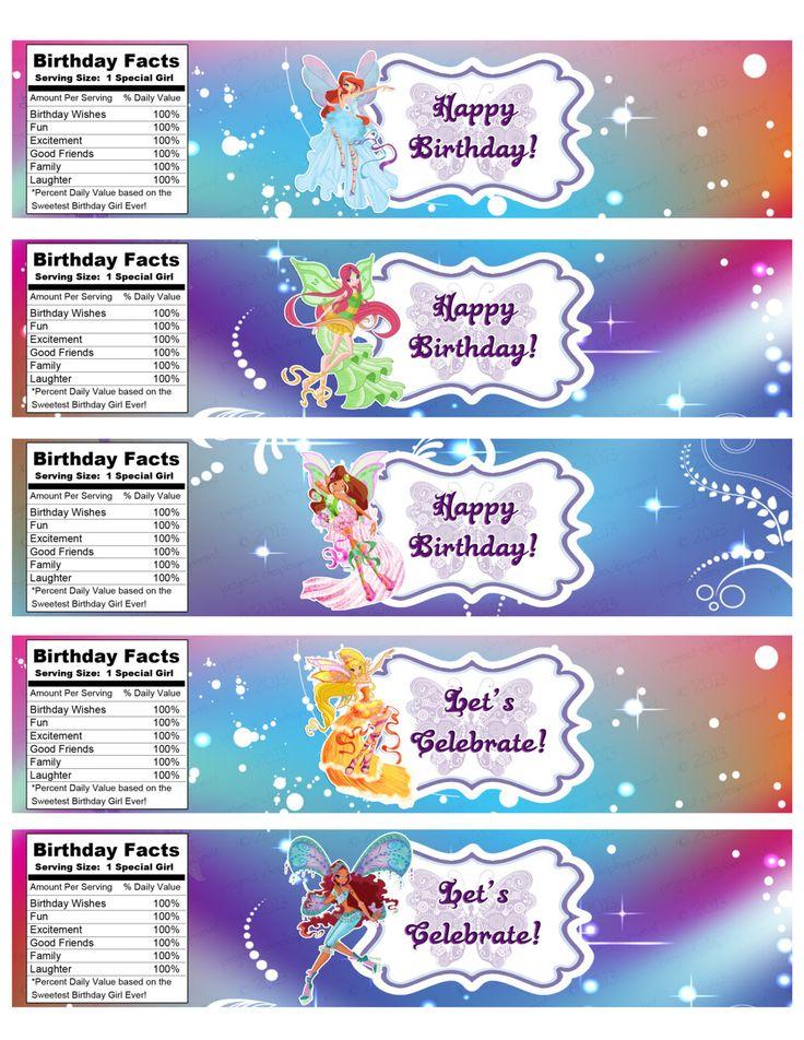 INSTANT DOWNLOAD Winx Club Birthday Water by IrrelephantDesigns