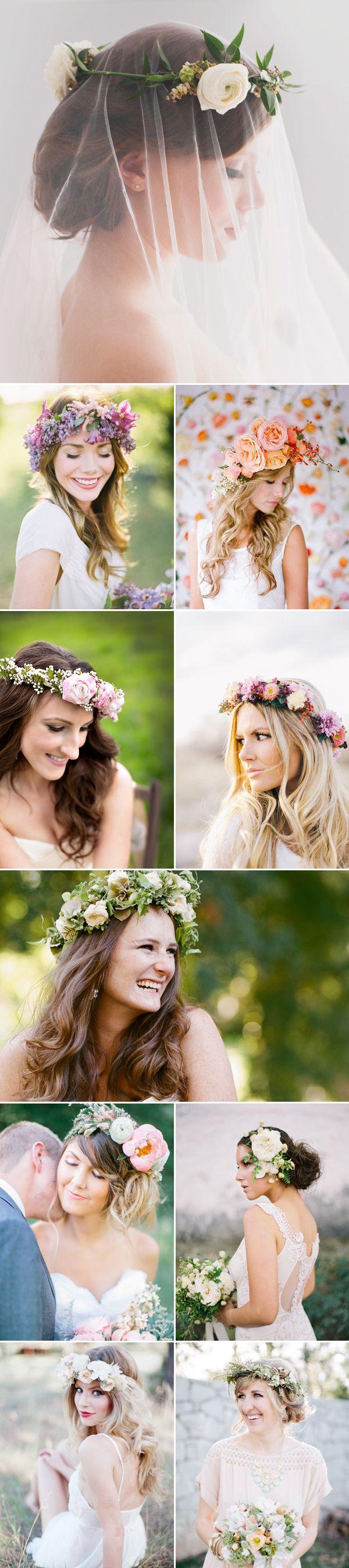 Helemaal 2014: fleurige bloemenkransen voore haar!    Summer Bridal Hairstyles - Fresh Flowers
