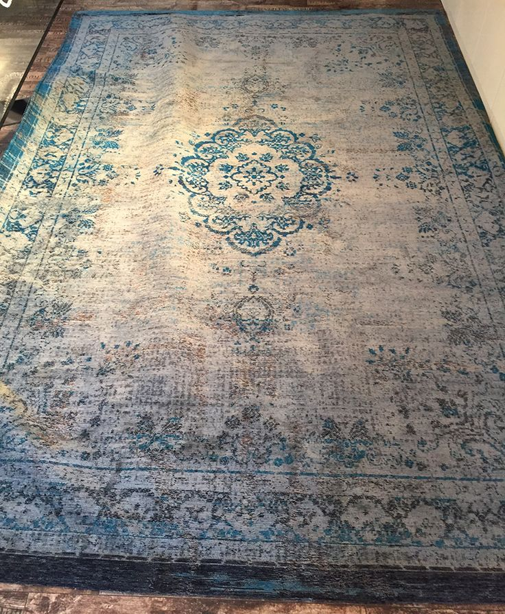 Orientteppich Muster | gefärbt gewebt |  -blau grau-  Vintage-Teppich - Bild vergrößern