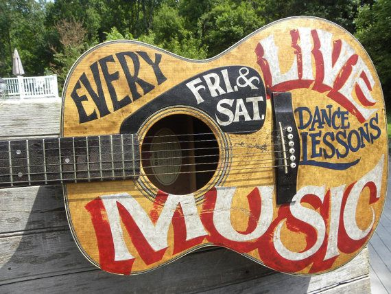 Painted Guitar Sign,acoustic guitar,original, sign, decor, wallhanging