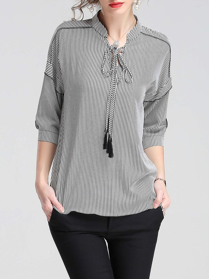 Shop Blouses - Black-white Stand Collar Stripes Casual Blouse online. Discover unique designers fashion at StyleWe.com.