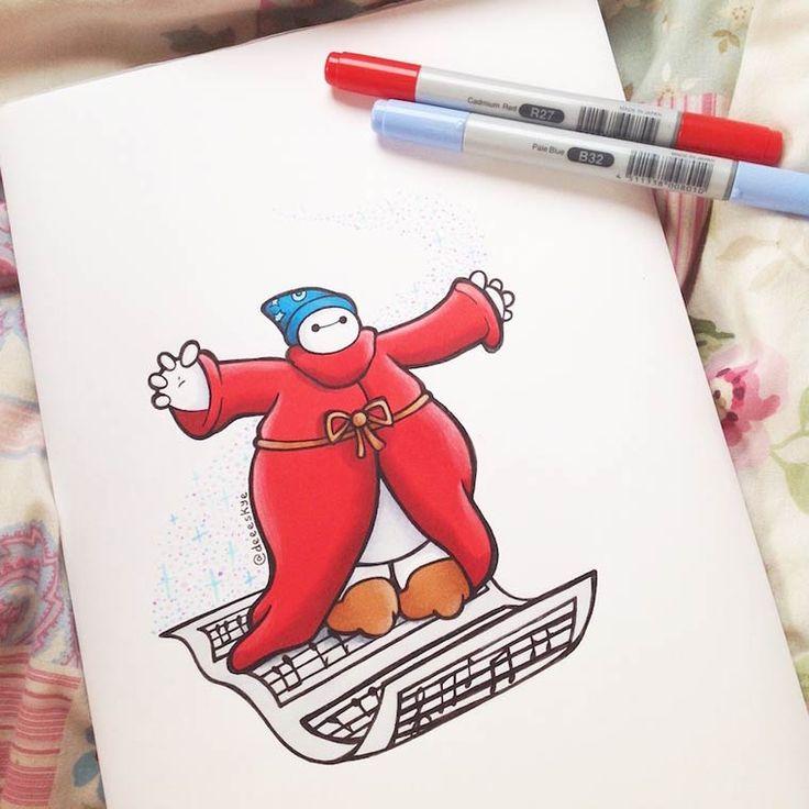 Robô de BigHero 6 vira outros personagens da Disney por Ilustradora Demetria Skye